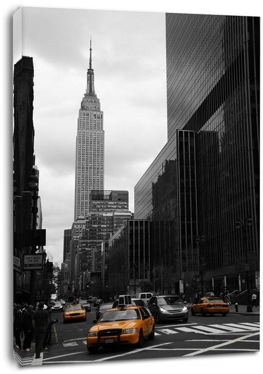 Yellow taxis on 35th street, new york - obraz na płótnie wymiar do wyboru: 30x40 cm
