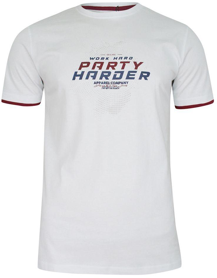 T-shirt Bawełniany, Biały z Nadrukiem, PARTY HARDER, Męski, Krótki Rękaw, U-neck -PAKO JEANS TSPJNS13DISCObi