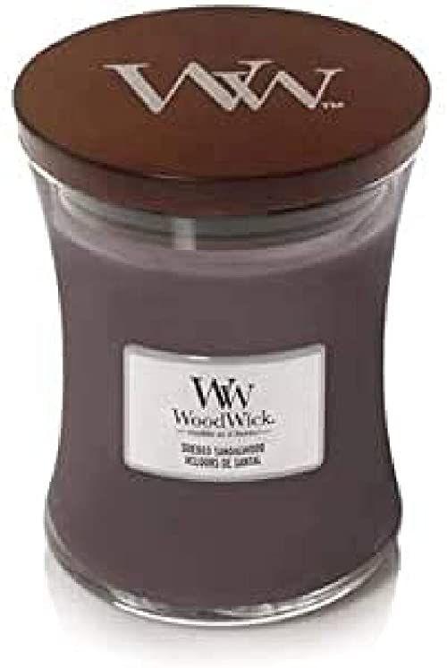 Woodwick Candle, drewno, ciemny brąz, średni
