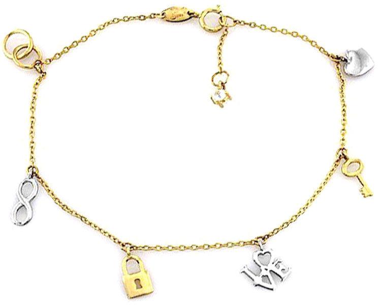 Złota bransoletka 585 zawieszki love serce kluczyk 2.01g