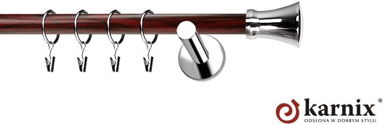 Karnisze Nowoczesne NEO Prestige pojedynczy 19mm Monaco INOX - mahoń
