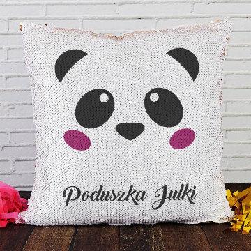 Panda - Poduszka z cekinami