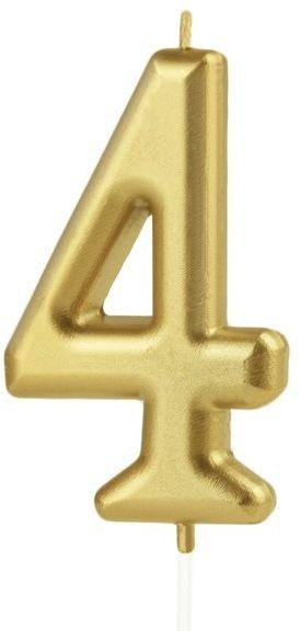 Świeczka cyferka 4 złota 10cm 420184