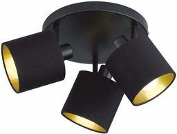 Reality Leuchten Tommy R80333979 belka punktowa, metalowa, czarna matowa, abażur z tkaniny czarny / złoty