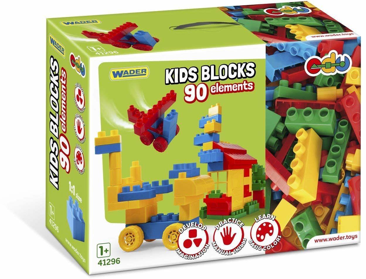Wader 41296 41296-Kids Blocks, 90 części, w różnych kształtach i kolorach, w zestawie praktyczne pudełko z uchwytem, ok. 39,5 x 14,5 x 29,5 cm, od 12 miesięcy, idealne na prezent