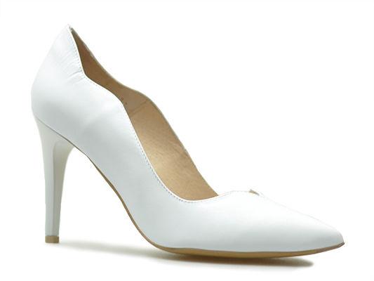 Czółenka Emis S7053/221 Białe perła