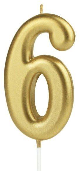 Świeczka cyferka 6 złota 10cm 420186