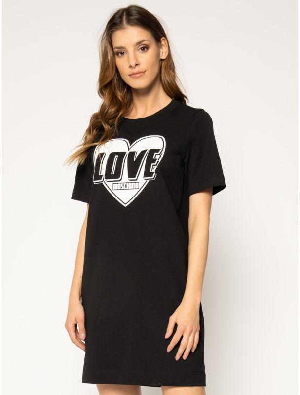 LOVE MOSCHINO Sukienka codzienna W584714E 2124 Czarny Regular Fit