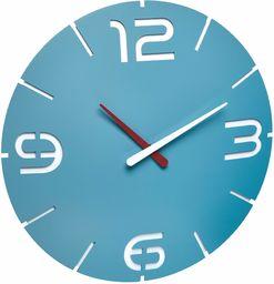 TFA Dostmann Contour designerski zegar ścienny, 350 x (wys.) 35 mm, tworzywo sztuczne, morski niebieski/biały, 60.3047.14