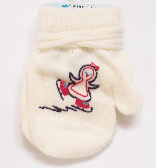 Rękawiczki dziecięce jednopalcowe ecru z pingwinem