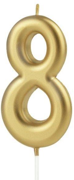 Świeczka cyferka 8 złota 10cm 420188
