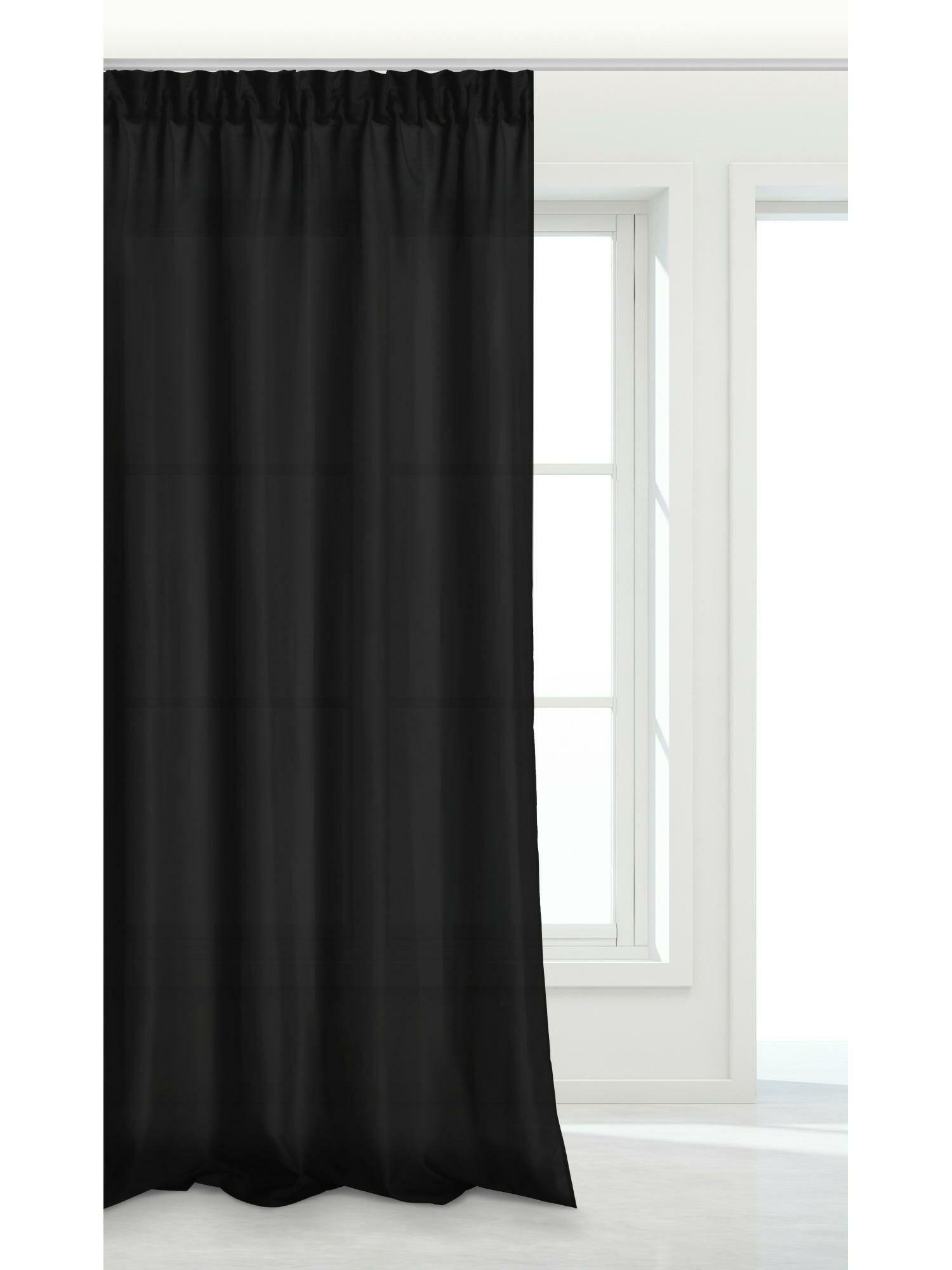 Zasłona gotowa czarna 140x175 na taśmie Viva do salonu
