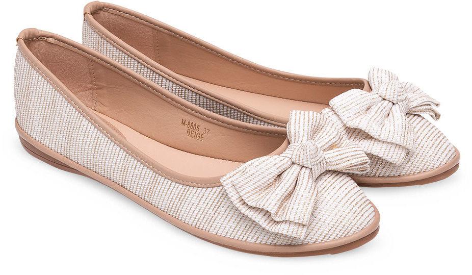 Balerinki damskie Ideal Shoes M-8805 Beżowe