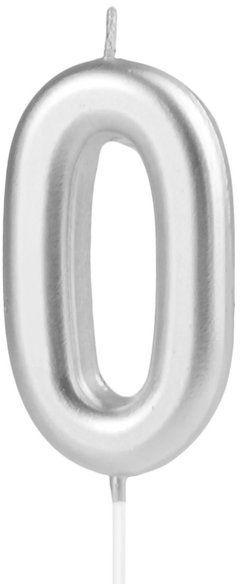 Świeczka cyferka 0 srebrna 10cm 420190
