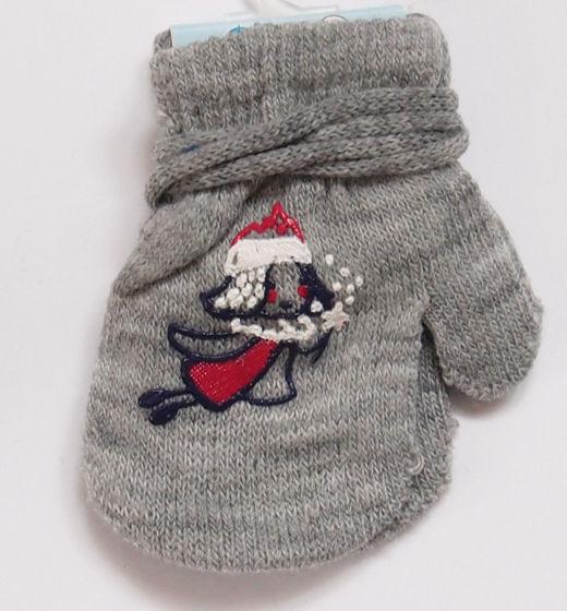 Rękawiczki dziecięce jednopalcowe szare z wróżką