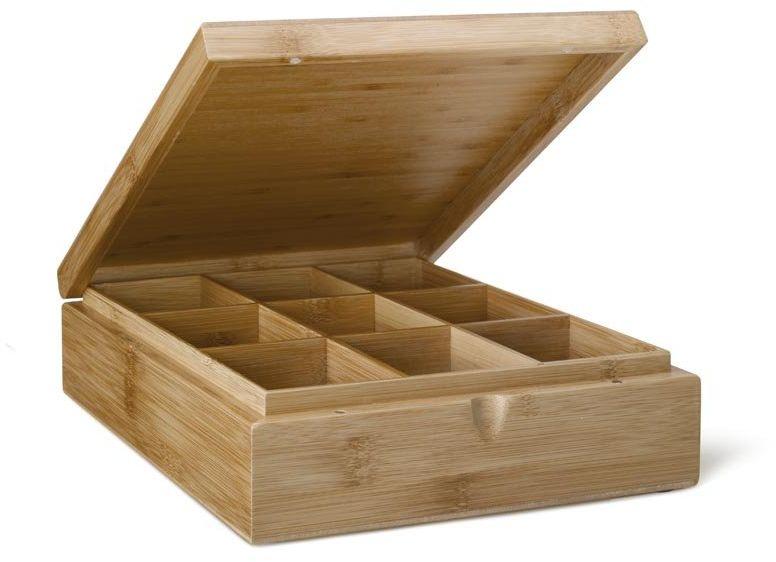 Pudełko na torebki herbaty 9 przegródek bez okienka w pokrywie z jasnego drewna bambusowego 285 x 235 x 74 mm