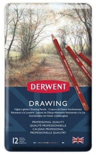 Zestaw Kredek Derwent Drawing 12 kolorów (Metalbox)