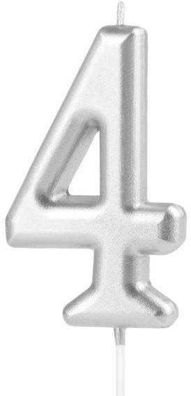 Świeczka cyferka 4 srebrna 10cm 420194