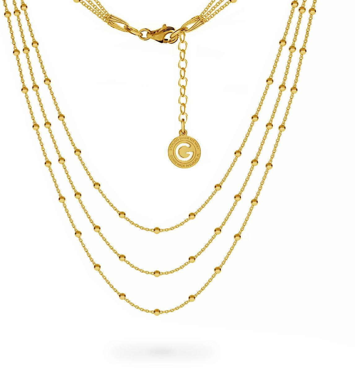 Potrójny łańcuszek 50 cm z kulkami, srebro 925 : Długość (cm) - 38 + 42 + 45 + 5, Srebro - kolor pokrycia - Pokrycie żółtym 18K złotem