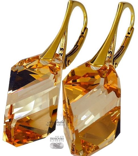 Piękne kolczyki Swarovski Crystals Golden Złote srebro