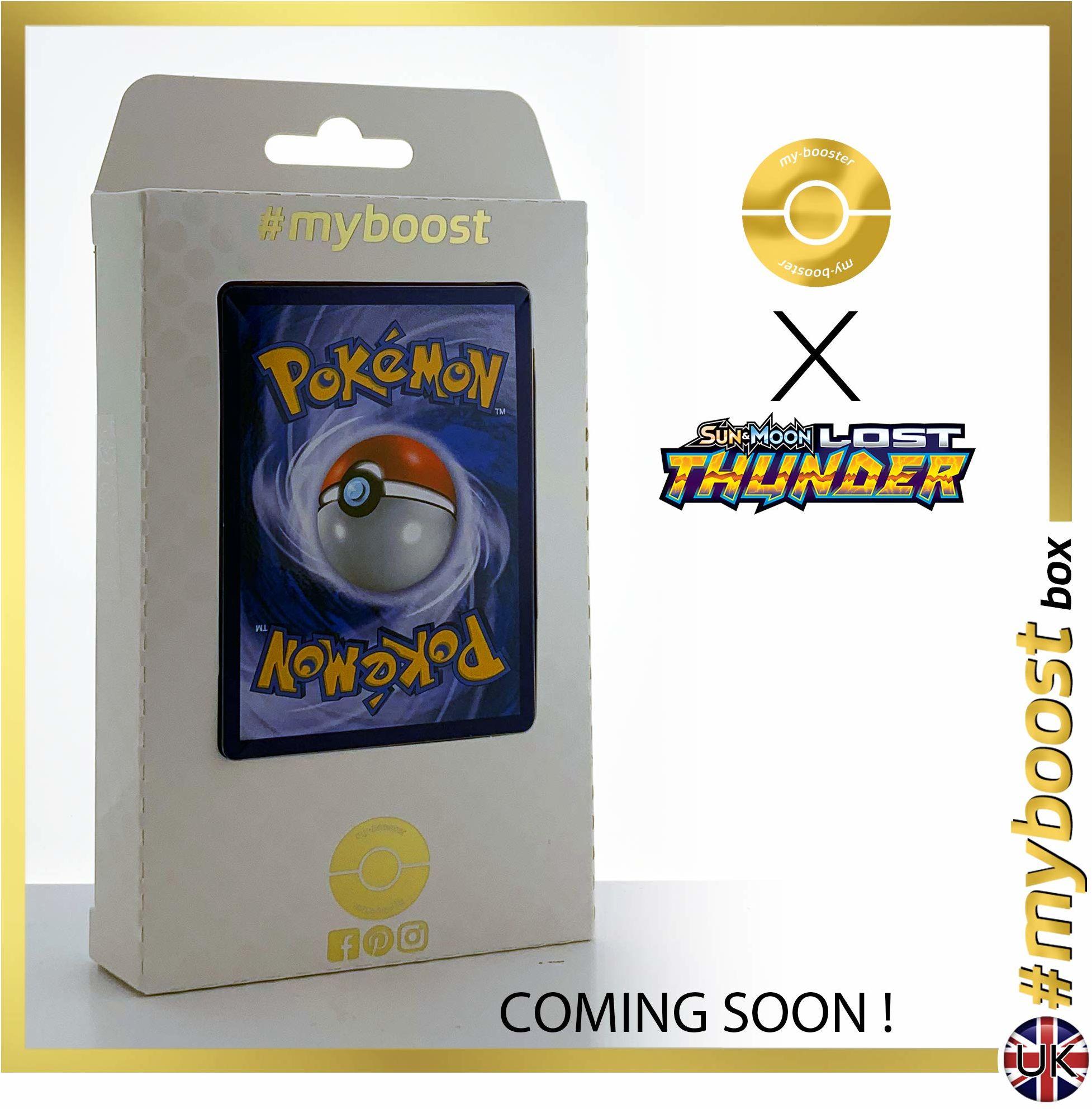 Raikou 79/214 & Donphan 112/214 - #tooboost X Sun & Moon 8 Lost Thunder - pudełko z 10 angielskimi kartami Pokémon + 1 Pokémon-Goodie