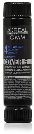 Loreal Homme Cover 5'' NO 4 Żel do koloryzacji dla mężczyzn - Średni Brąz 50 ml