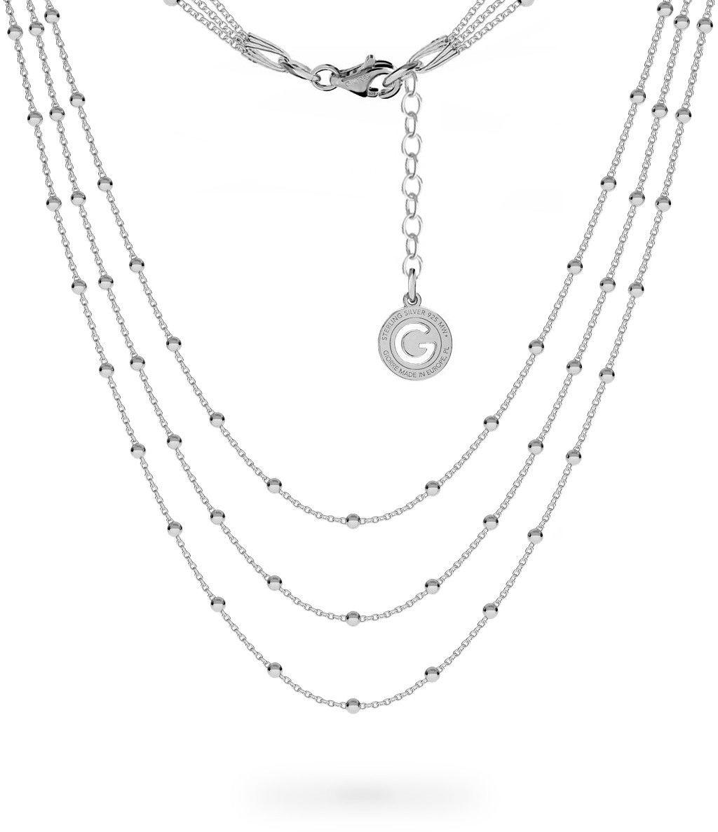 Potrójny łańcuszek 50 cm z kulkami, srebro 925 : Długość (cm) - 38 + 42 + 45 + 5, Srebro - kolor pokrycia - Pokrycie platyną