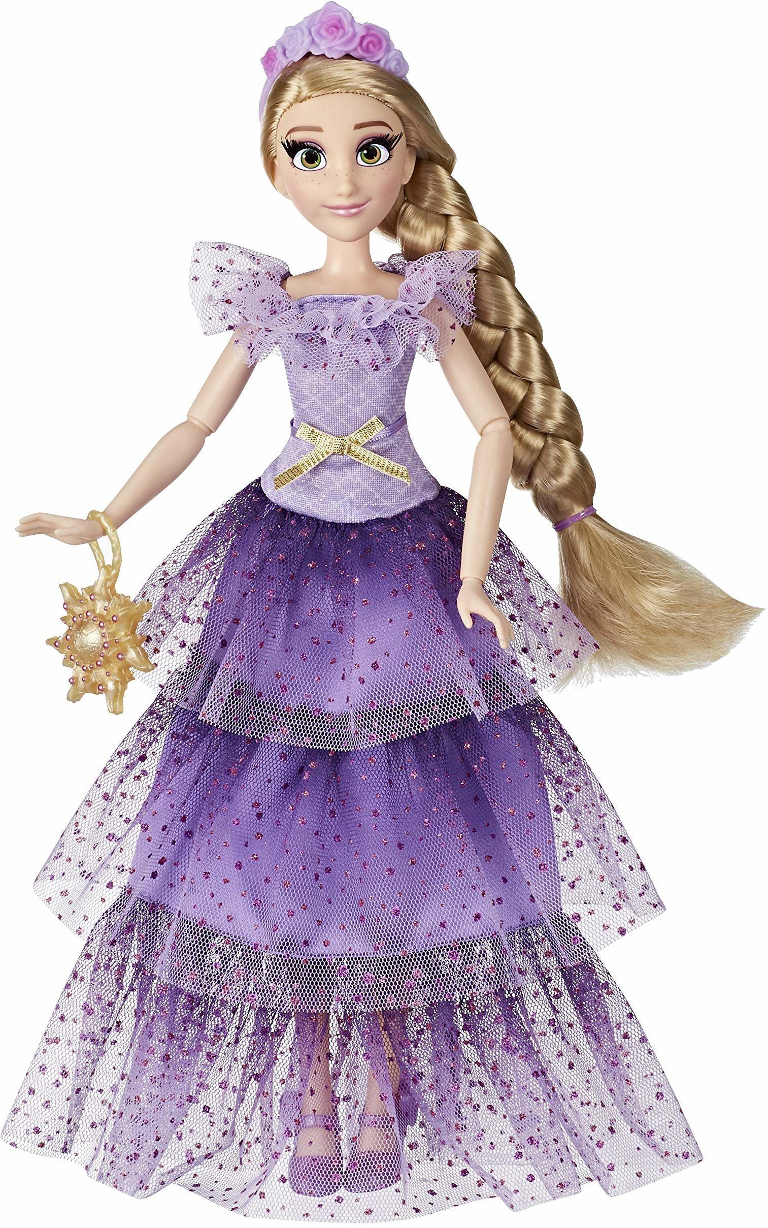 Hasbro Disney Prinzessinnen Seria Style Roszpunzel modna lalka, nowoczesna suknia wieczorowa z opaską na włosy, torebka i buty, dla dziewczynek od 6 lat