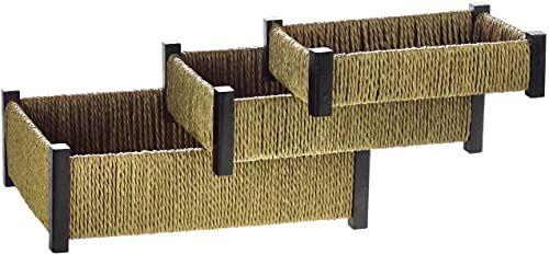 Comarco Sa 12162 kosz do przechowywania, lina, drewno, wielokolorowy, 21 x 30 x 8 cm