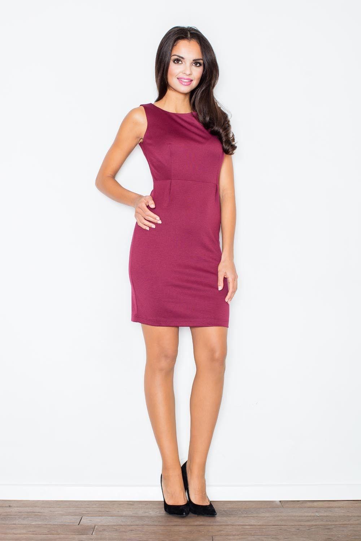 Bordowa modna ołówkowa sukienka bez rękawów