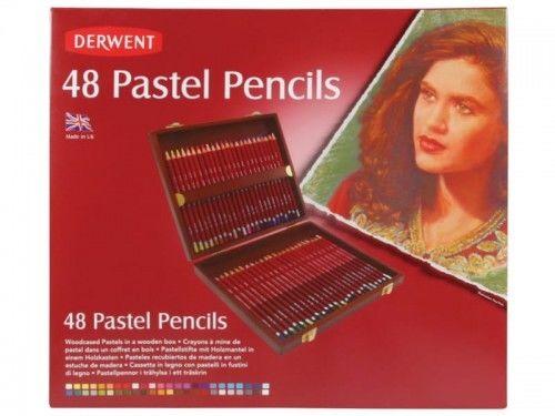 Kredki Pastelowe Derwent Pastel Pencils 48 szt. (Kaseta Drewniana)