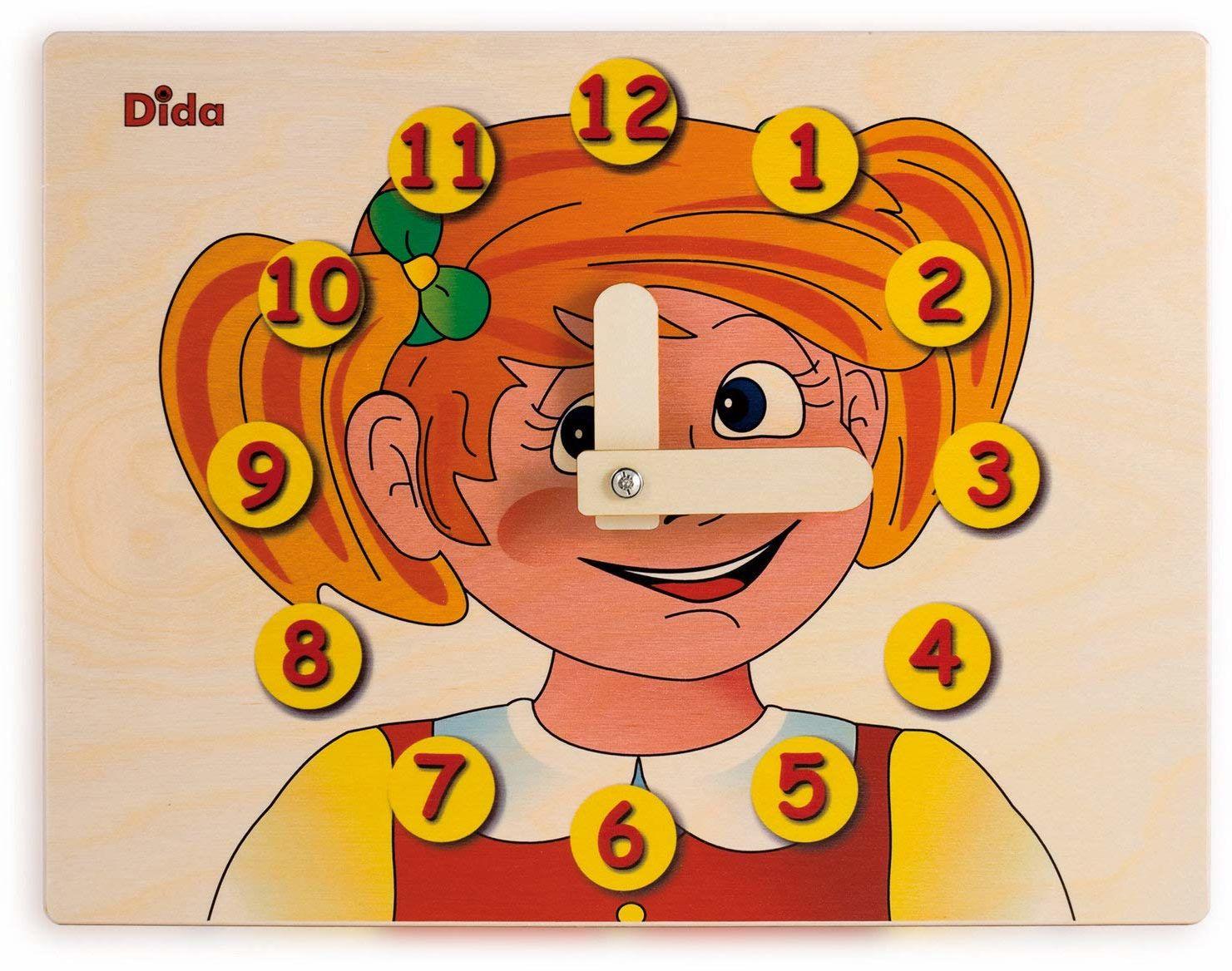 Dida - Zegarek do nauki dla dzieci -twarz dziewczynki - zabawny zegar do nauki dzieci, z drewna, do przedszkola, szkoły i domu