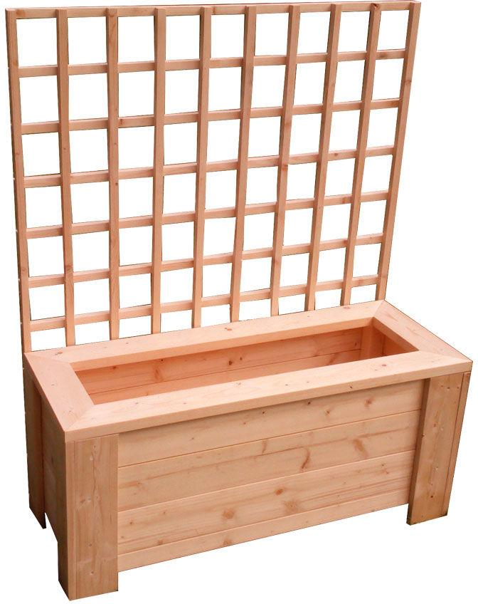 Prostokątna drewniana donica ogrodowa z pergolą - Nina