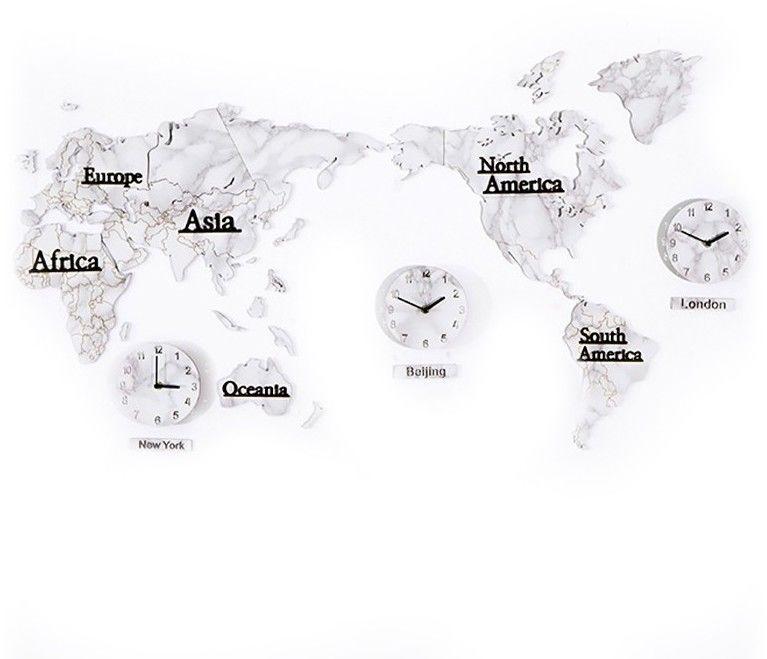 Zegar Dekoracja Mapa Świata - Strefy Czasowe