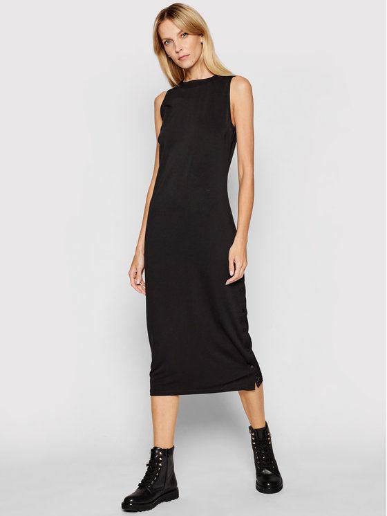 KARL LAGERFELD Sukienka codzienna Logo Tape Snap 211W1365 Czarny Slim Fit