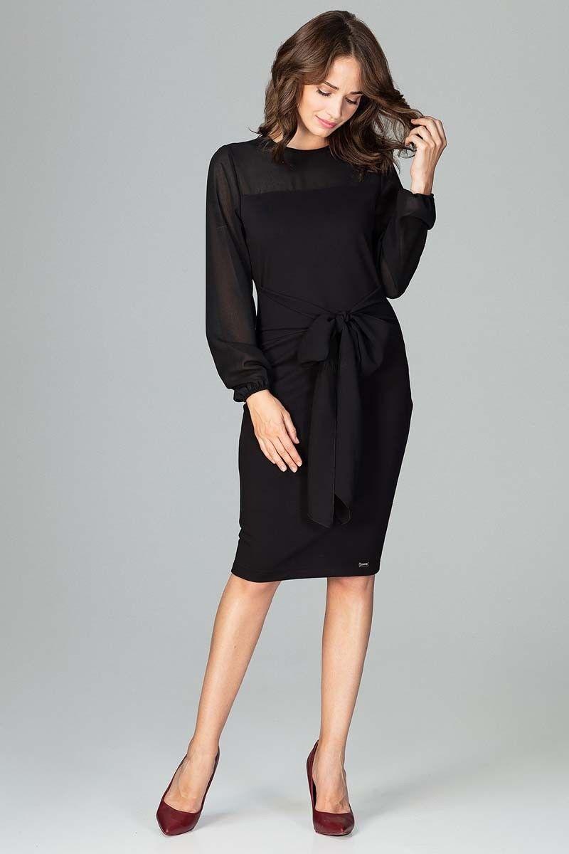 Czarna kobieca wizytowa sukienka z prześwitującymi rękawami