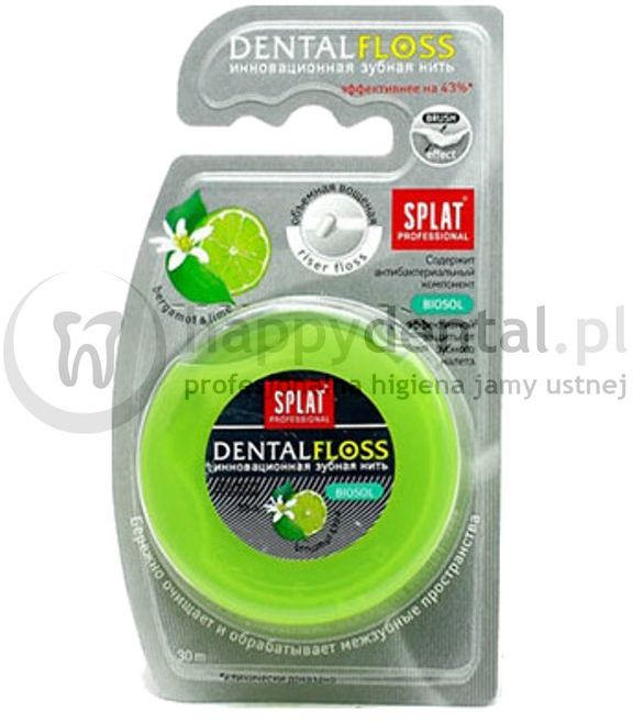 SPLAT DentalFloss BERGAMOT-LIME 30m - woskowana nić dentystyczna, rozprężająca o smaku bergamotki i limonki