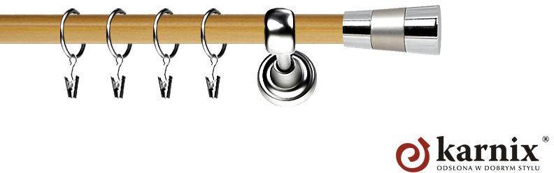 Karnisz Metalowy Prestige pojedynczy 19mm Doris INOX - pinia
