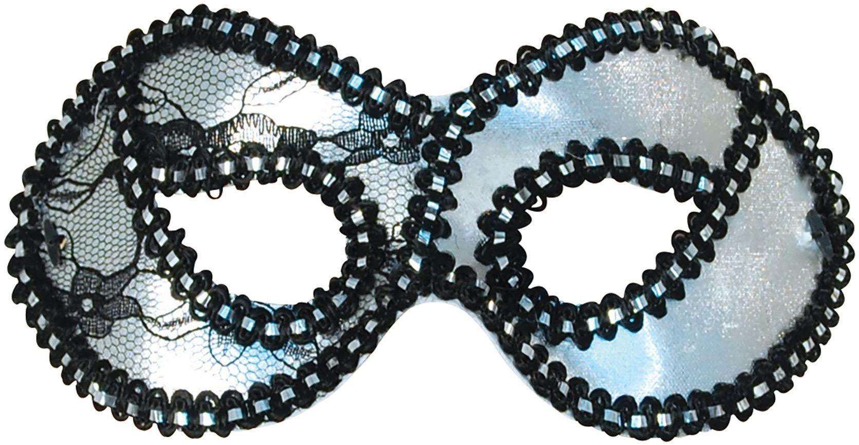 Bristol Novelty EM006 Koronkowa maska na oczy Domino, damska, srebrna, jeden rozmiar