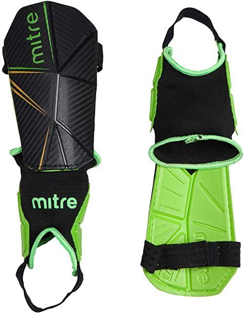 Mitre Delta Ankle Protect ochraniacze na golenie piłki nożnej, czarne (czarny/zielony/żółty), małe