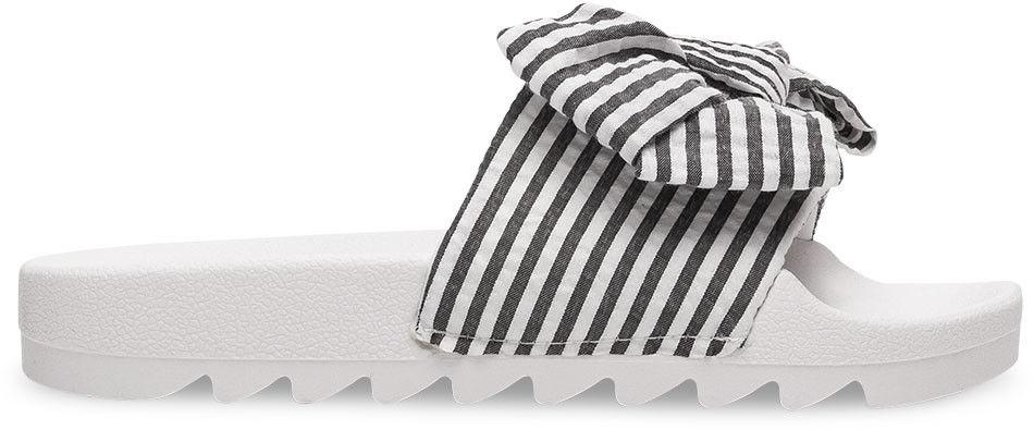 Klapki damskie Ideal Shoes T-9159 Biało-Czarne