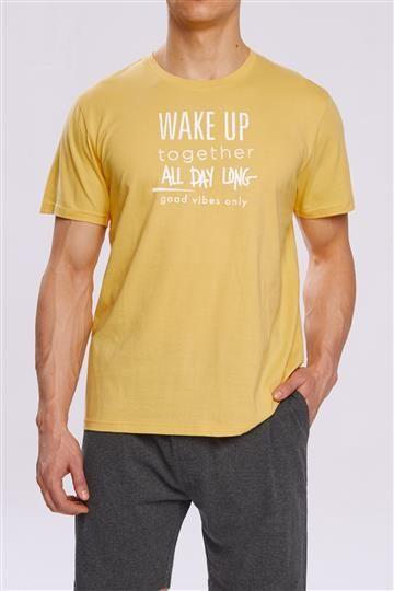 Pizama Wake Up NMP-310 Zolto-szara