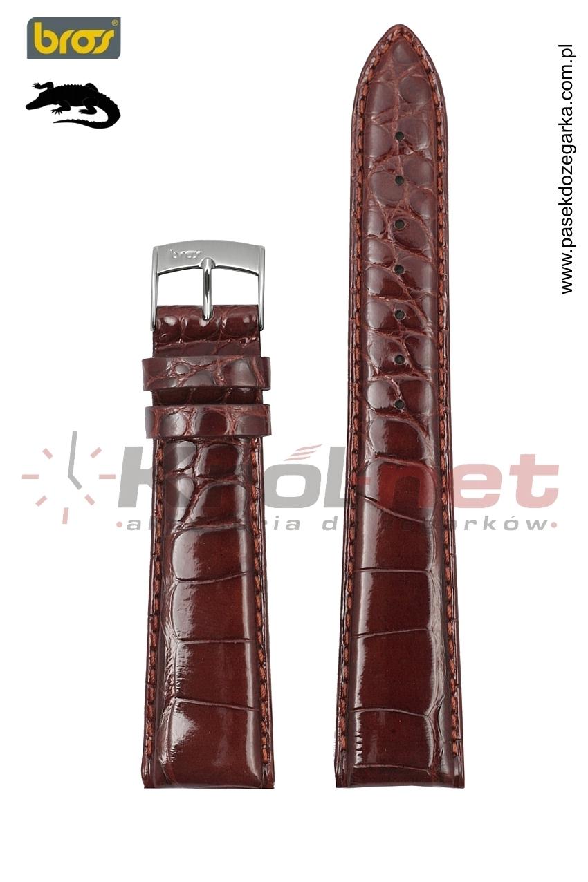 Pasek Bros 1128/25/18 - skóra aligatora, jasny brąz, lakierowany