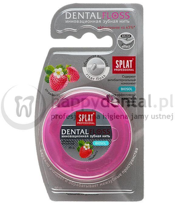 SPLAT DentalFloss STRAWBERRY 30m - woskowana nić dentystyczna, rozprężająca o zapachu truskawki