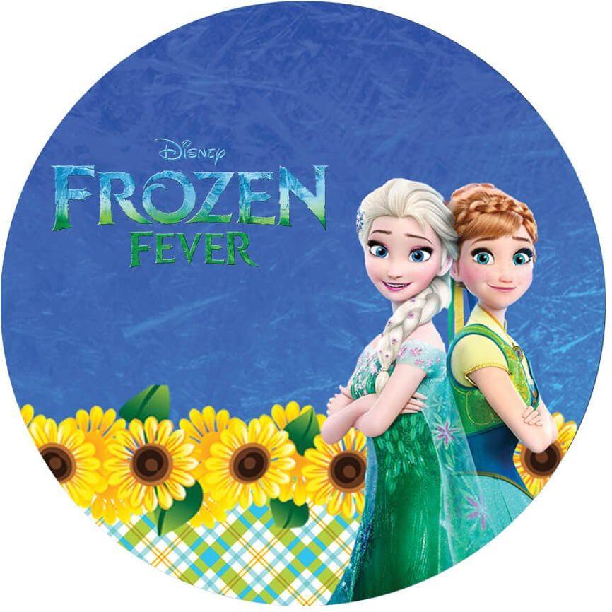 Dekoracyjny opłatek tortowy Frozen Feever - Anna i Elsa - 20 cm