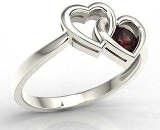 Pierścionek w kształcie dwóch serc z białego złota z granatem lp-52b