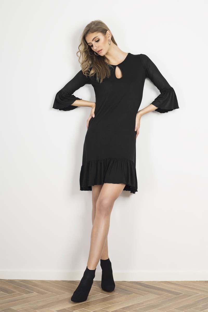 Czarna urocza prosta sukienka z falbankami
