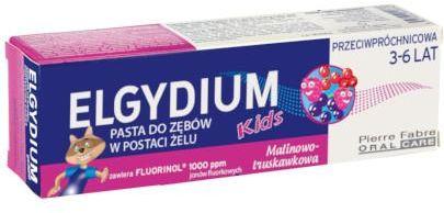 Elgydium Kids przeciwpróchnicowa pasta do zębów dla dzieci 3-6 lat malinowo-truskawkowa 50 ml