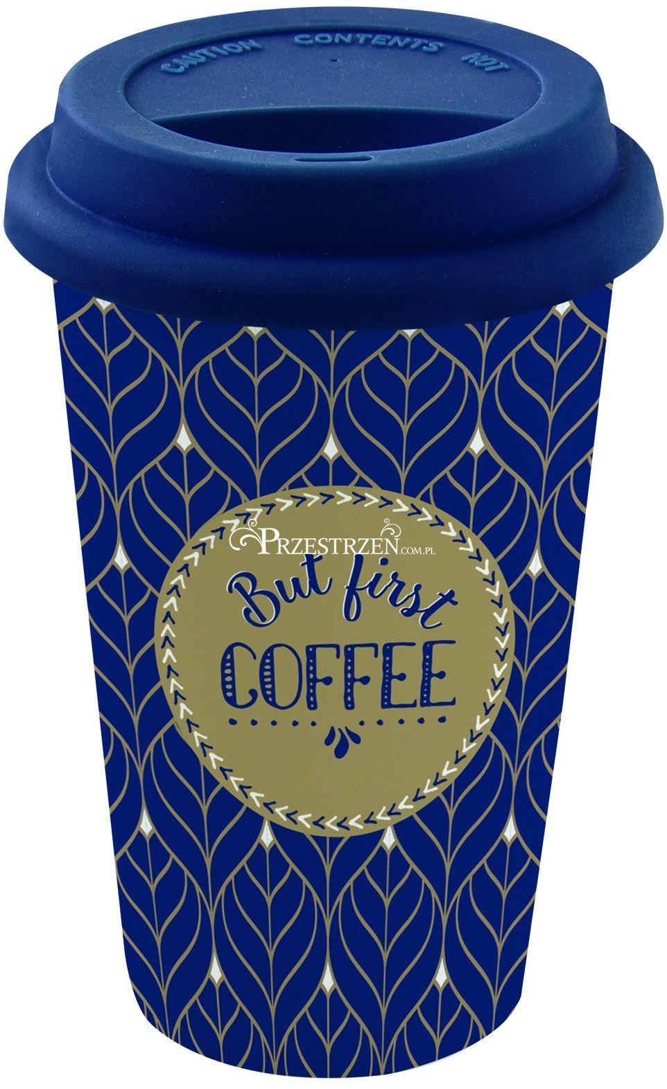 PORCELANOWY KUBEK PODRÓŻNY DO KAWY - But First Coffee - Z SILIKONOWĄ POKRYWKĄ 350 ml