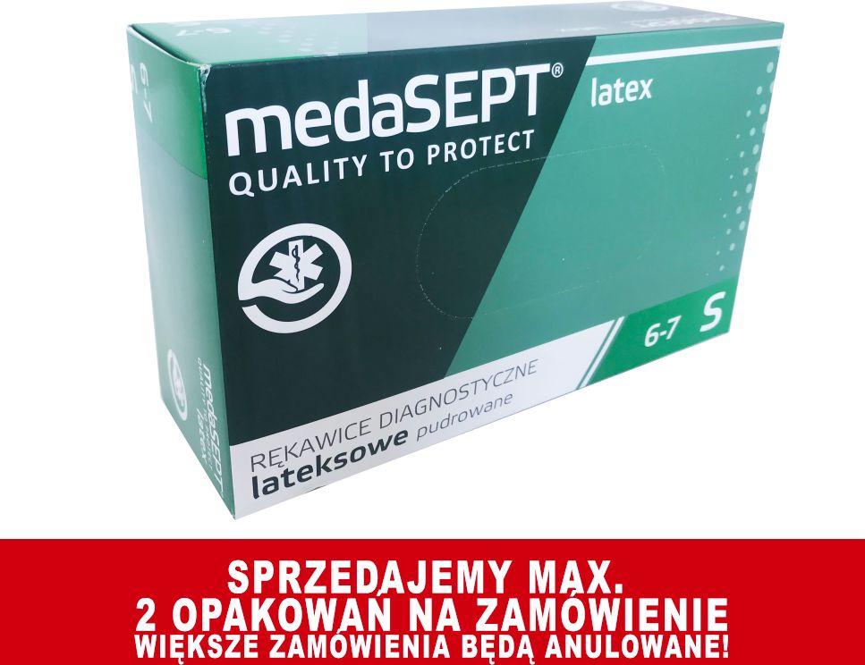 Rękawice lateksowe - diagnostyczne - medyczne, lekko pudrowane medaSEPT